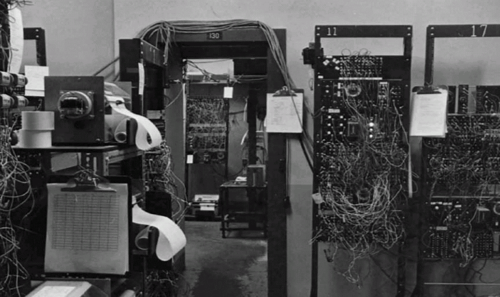 Figure 4. Relay racks in Room 129 in Harvard's pigeon laboratory (from Catania, 2002) (Photograph reprinted with permission from Wiley).
