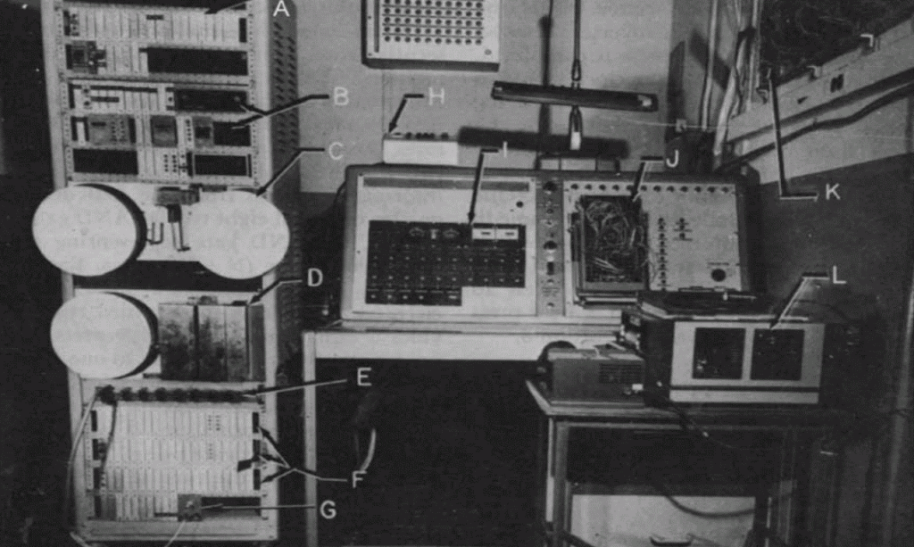 Figure 5. Integrated solid-state system for programming and for recording and analyzing data. These equipment was in Herrick's laboratory in the U. S. Naval Air Development Center in Johnsville, PA. Logic modules are marked A, B, F, and G. The plugboard connected to the programming modules is marked J. Storage tape is marked C (from Herrick and Denelsbeck, 1963) (Photograph reprinted with permission from Wiley).